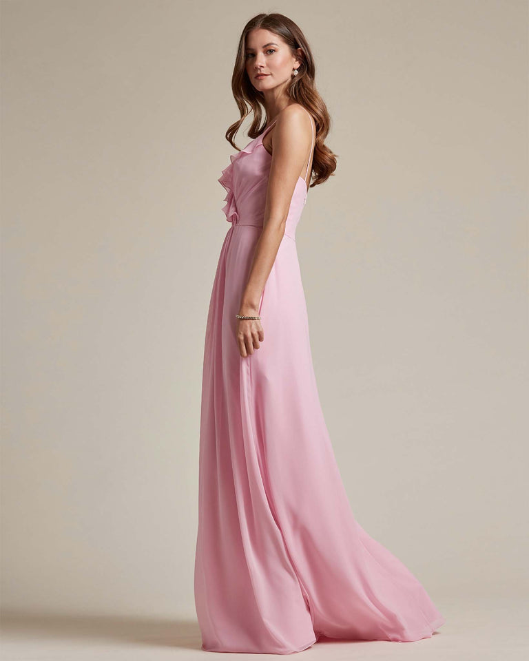 Peach Flowy Top Spaghetti Strap Bridesmaid Gown With Ruched Skirt