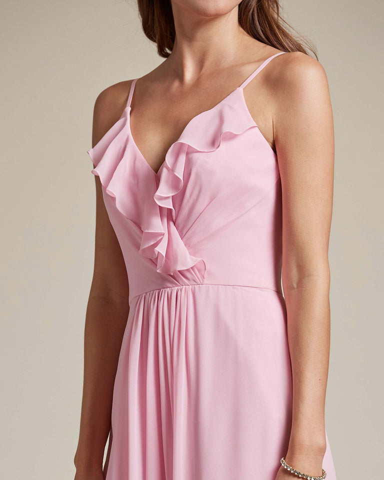 Passion Flowy Top Spaghetti Strap Bridesmaid Gown With Ruched Skirt