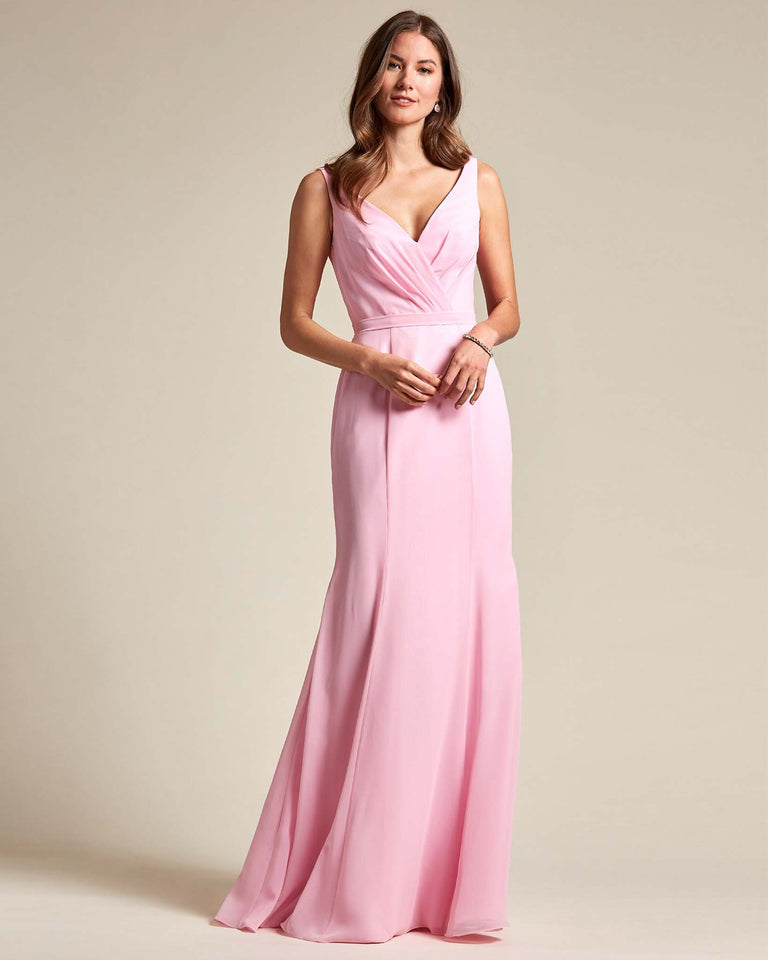 Cherry Blossom Classic V Neckline Bridesmaid Gown With Mermaid Skirt