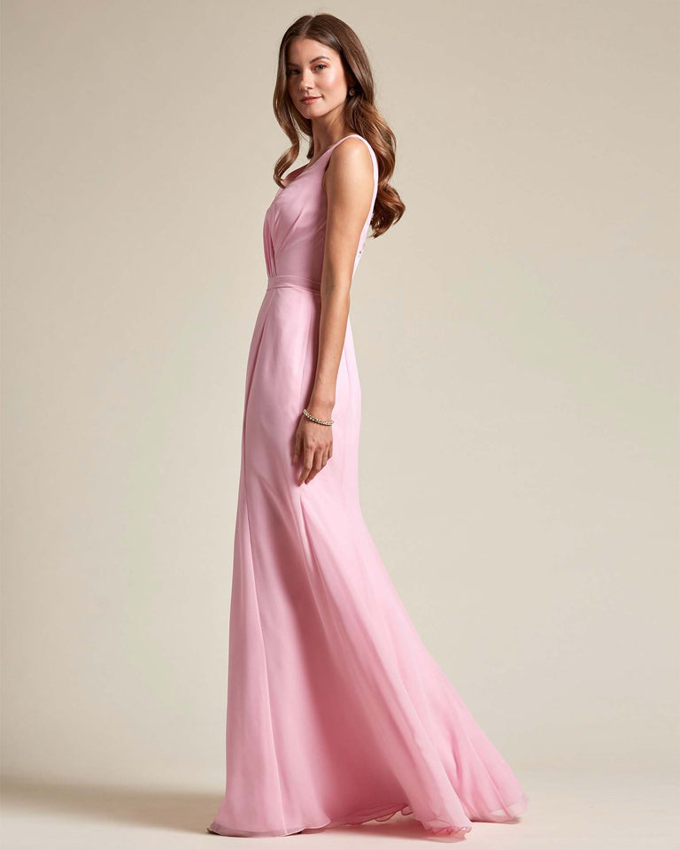 Pool Classic V Neckline Bridesmaid Gown With Mermaid Skirt