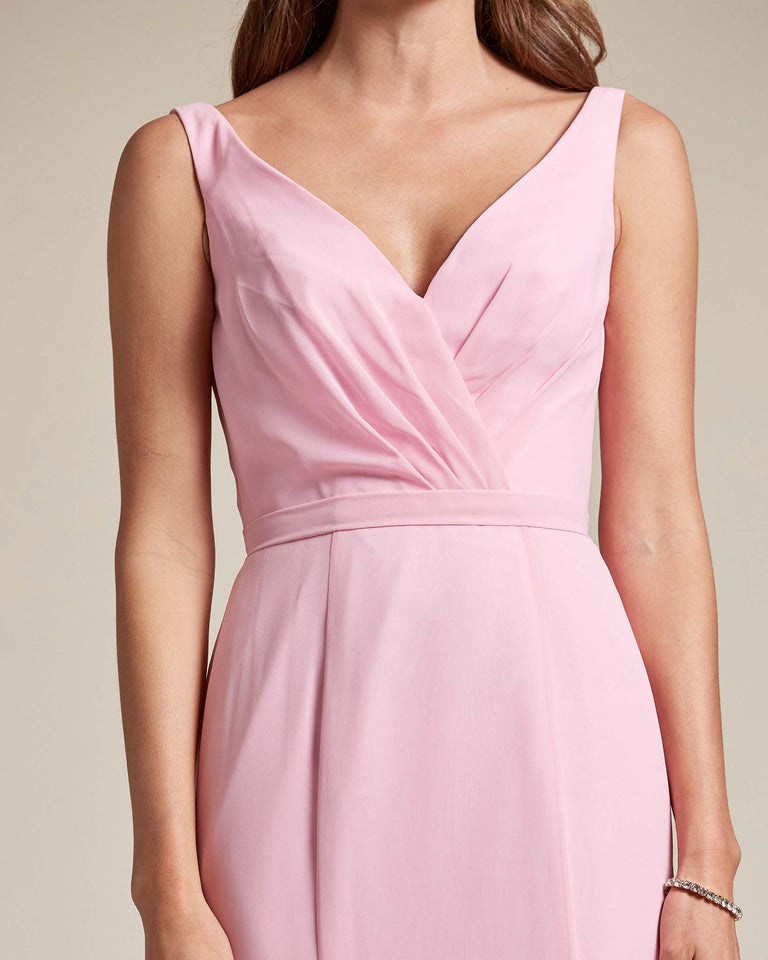 Flamingo Pink Classic V Neckline Bridesmaid Gown With Mermaid Skirt