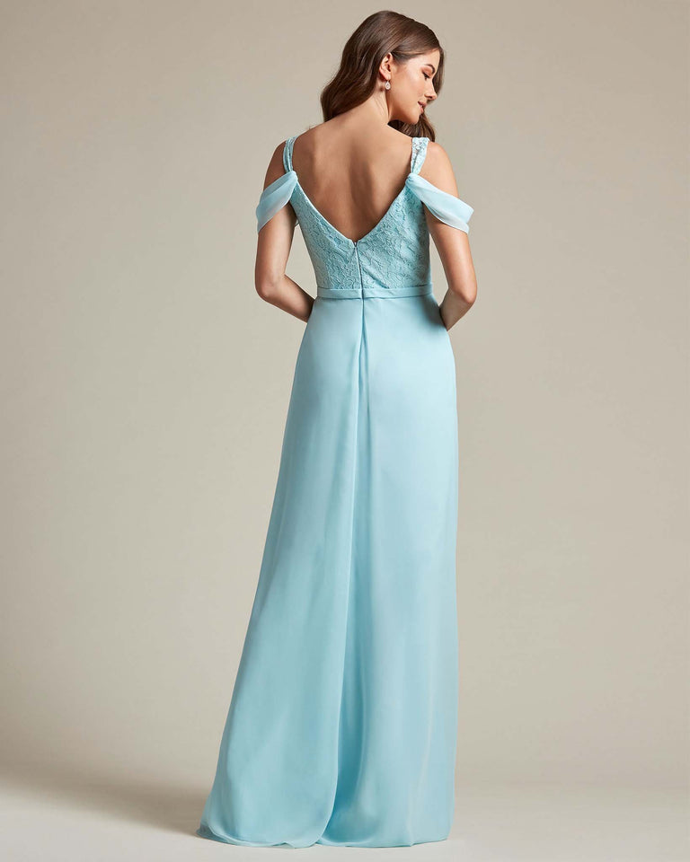 Dusty Blue Embroidered V Neck Top With Over The Shoulder Adornment Long Skirt Bridesmaid Dress
