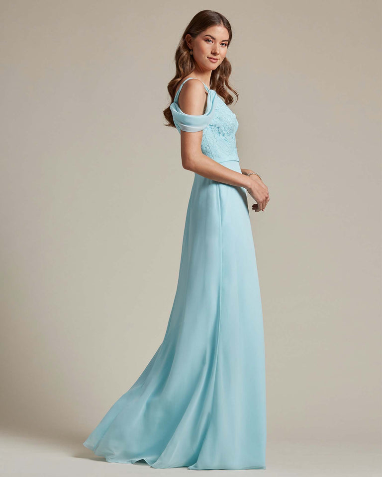 Daffodil Embroidered V Neck Top With Over The Shoulder Adornment Long Skirt Bridesmaid Dress