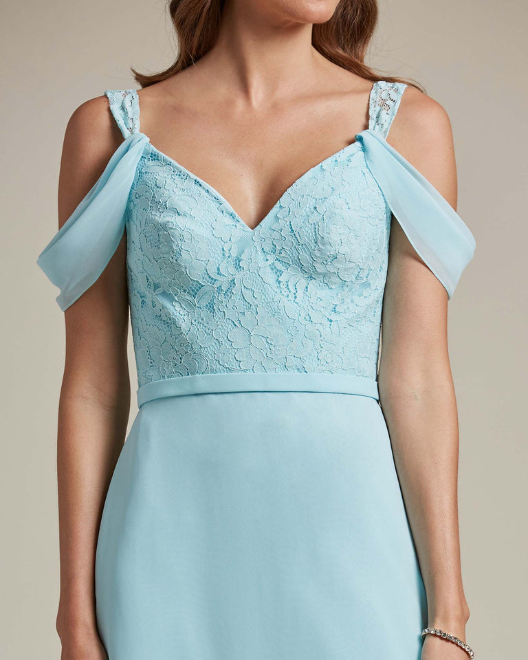 Blue Glow Embroidered V Neck Top With Over The Shoulder Adornment Long Skirt Bridesmaid Dress