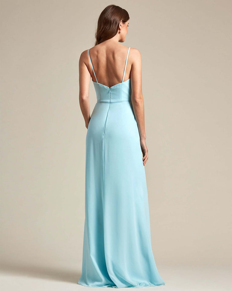 Tahiti Unique Ruched Design V Neckline Gown With Waistband Adornment
