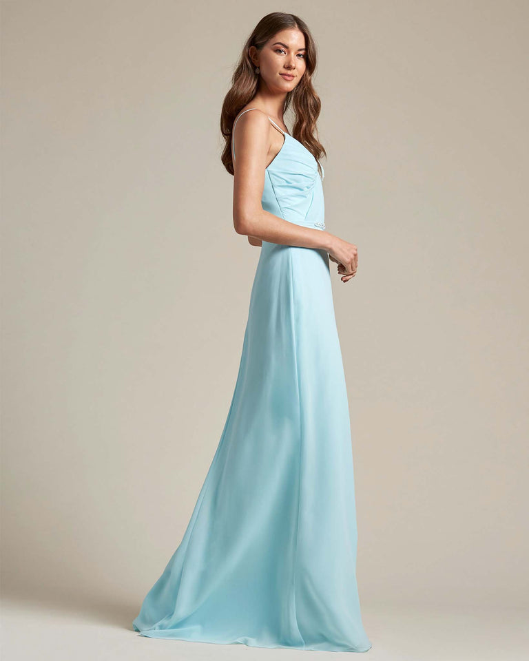 Turquoise Unique Ruched Design V Neckline Gown With Waistband Adornment