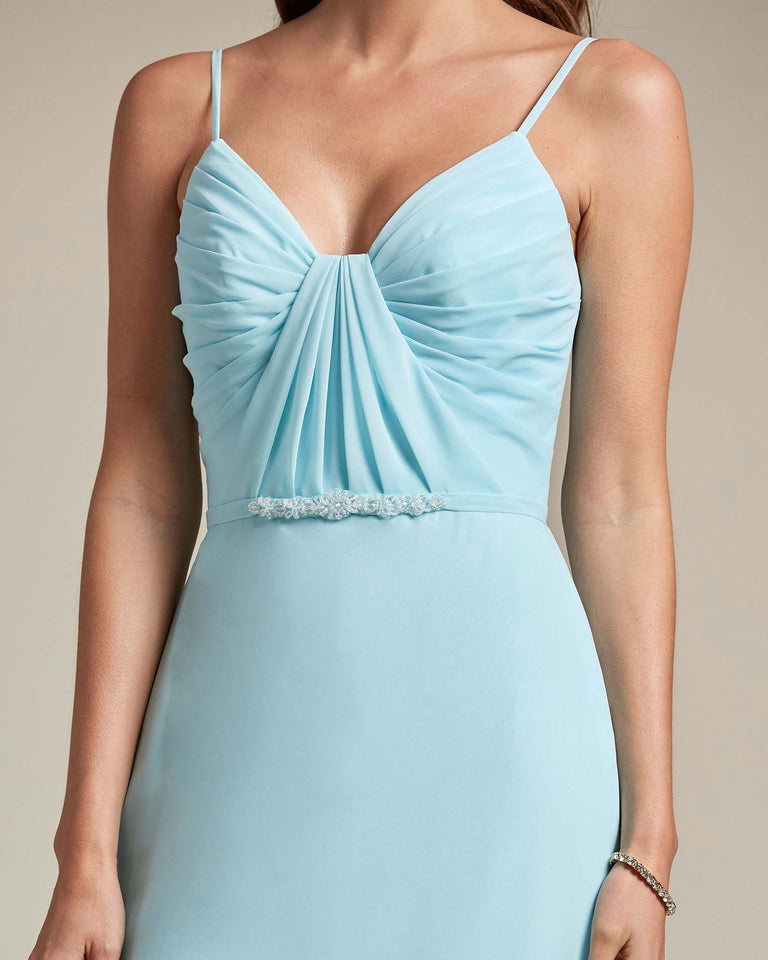 Ocean Blue Unique Ruched Design V Neckline Gown With Waistband Adornment