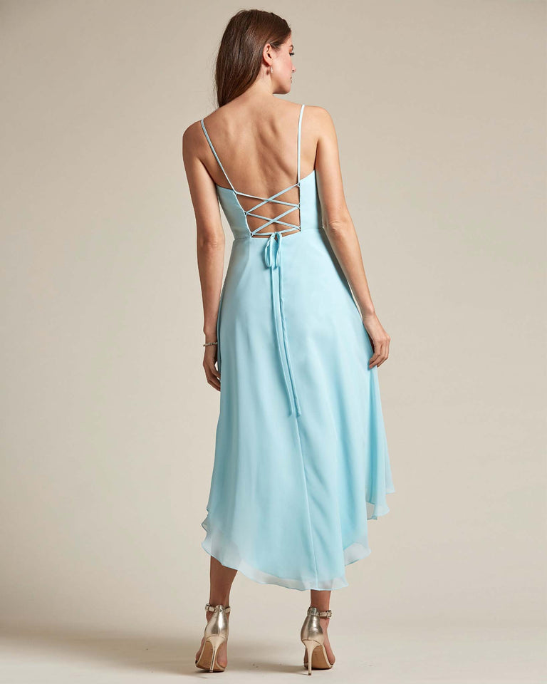 Ocean Blue Sexy Criss Cross Open Back Formal Dress With High to Low Skirt