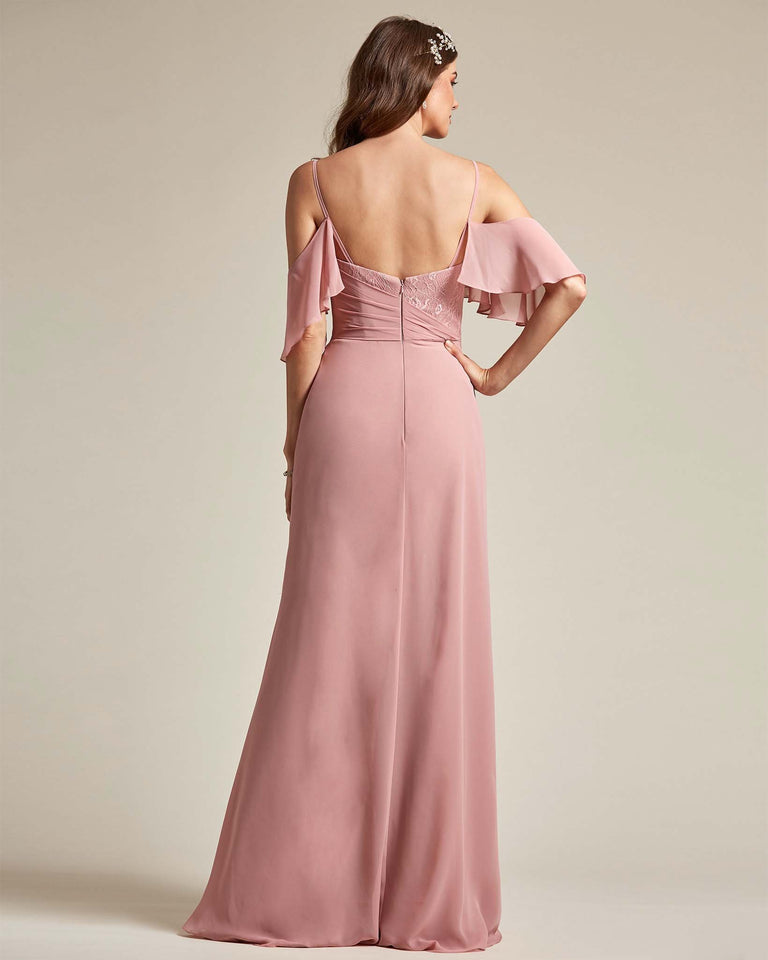Frost Elongated Over The Shoulder Flowy Adornment Multi Layer Bridesmaid Gown