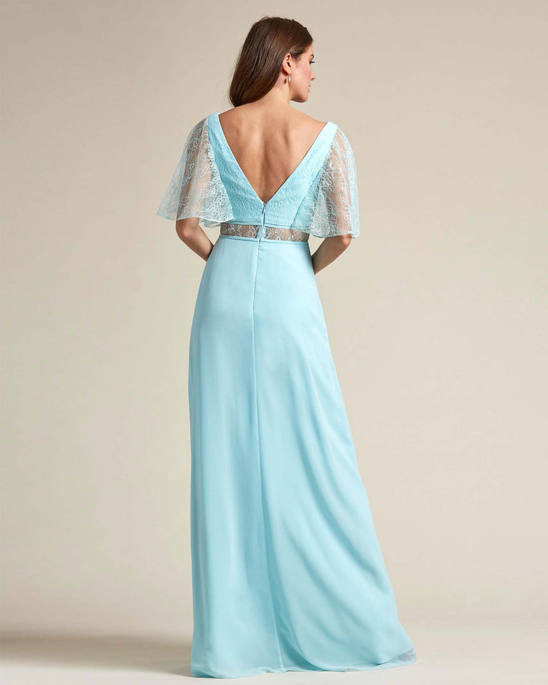 Paradise Sage Bell Shaped Lace Sleeves With Waistline Cutout Bridesmaid Dress