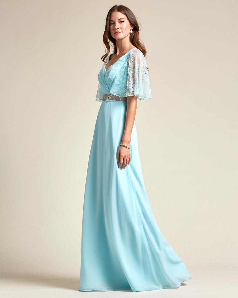 Ocean Blue Bell Shaped Lace Sleeves With Waistline Cutout Bridesmaid Dress