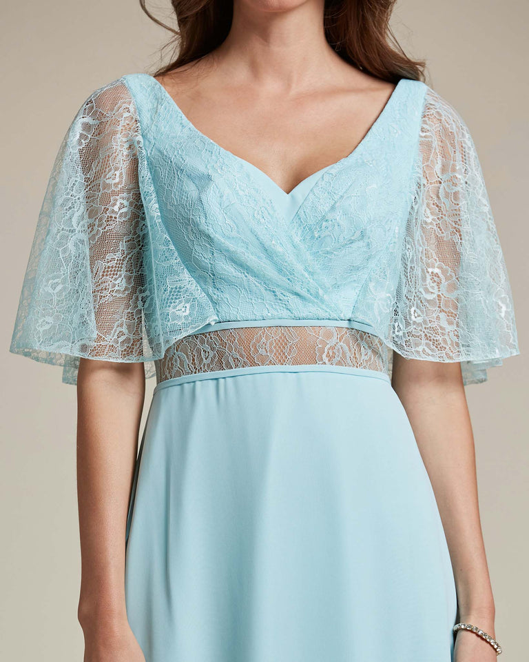 Turquoise Bell Shaped Lace Sleeves With Waistline Cutout Bridesmaid Dress