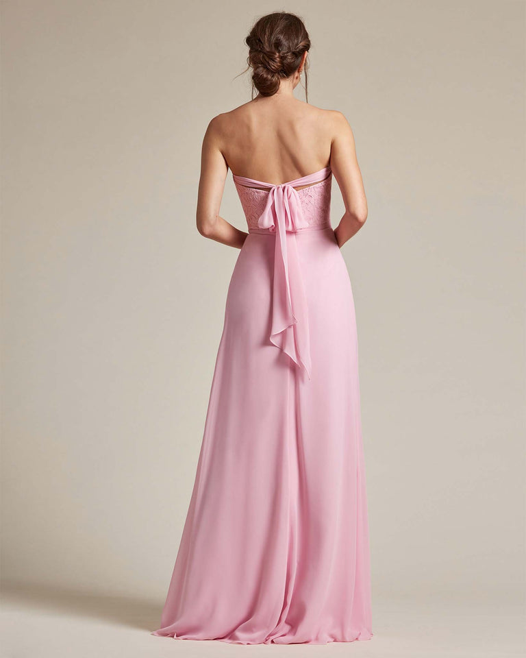 Peach Strapless Embroidered Top Gown With Voluminous Bow Adornment