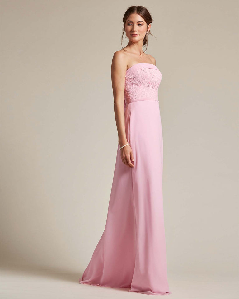 Blushing Pink Strapless Embroidered Top Gown With Voluminous Bow Adornment