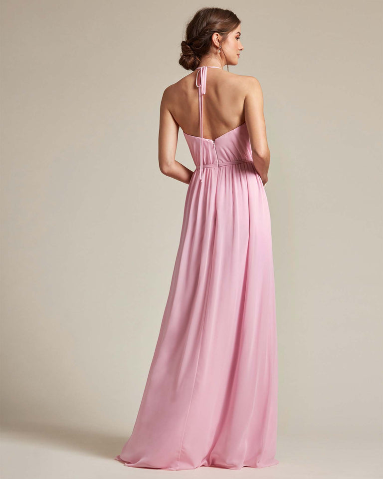 Dusty Rose Sheer Halter Top Bridesmaid Gown With Long Length Chiffon Skirt