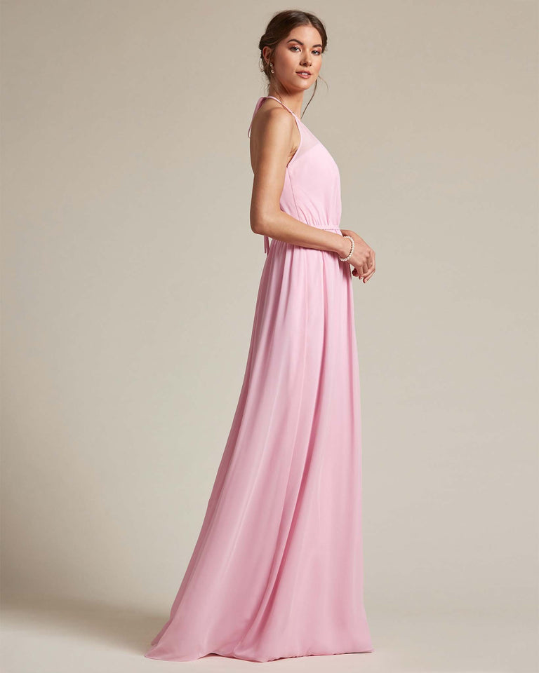Watermelon Sheer Halter Top Bridesmaid Gown With Long Length Chiffon Skirt