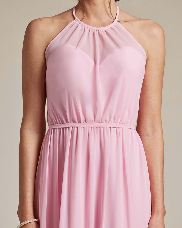 Peach Sheer Halter Top Bridesmaid Gown With Long Length Chiffon Skirt