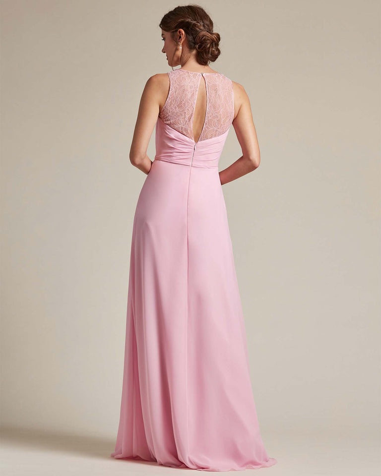 Grape Bateau Embroidered Shoulder Top Bridesmaid Gown