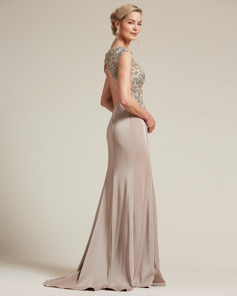 Tan Multi Color Embellished Evening Dress