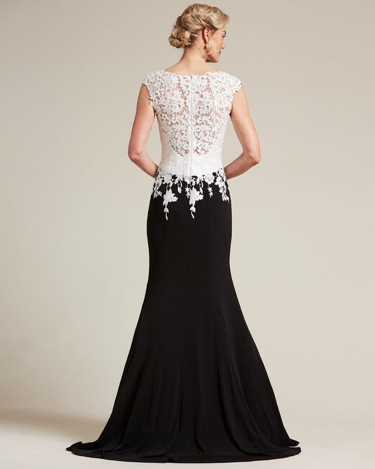 Black and White Mermaid Skirt Special Occasion Dress