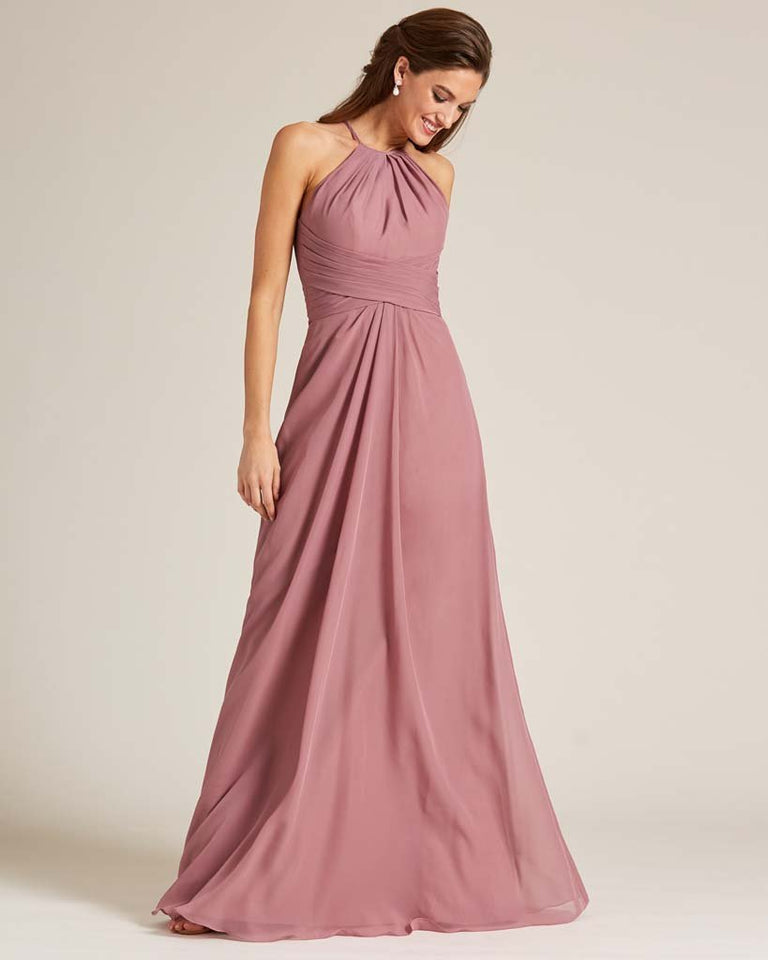 Vintage Mauve Halter Chiffon Long Skirt Dress