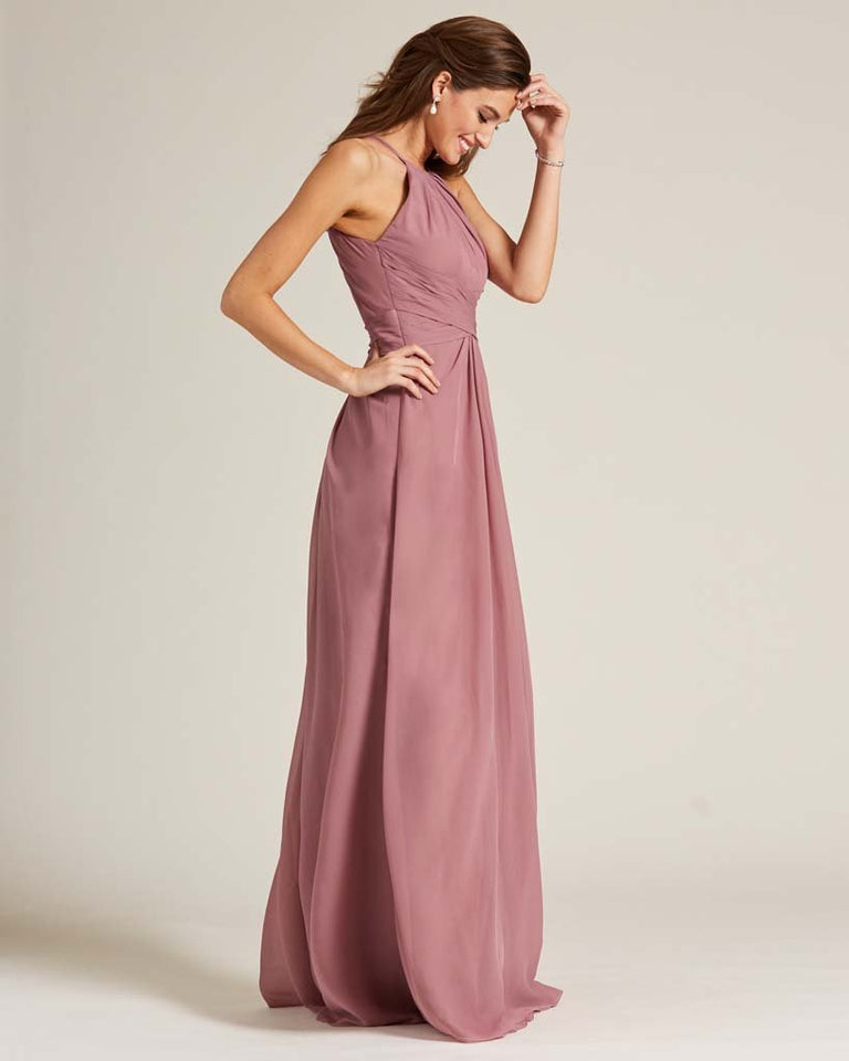 Silver Halter Chiffon Long Skirt Dress