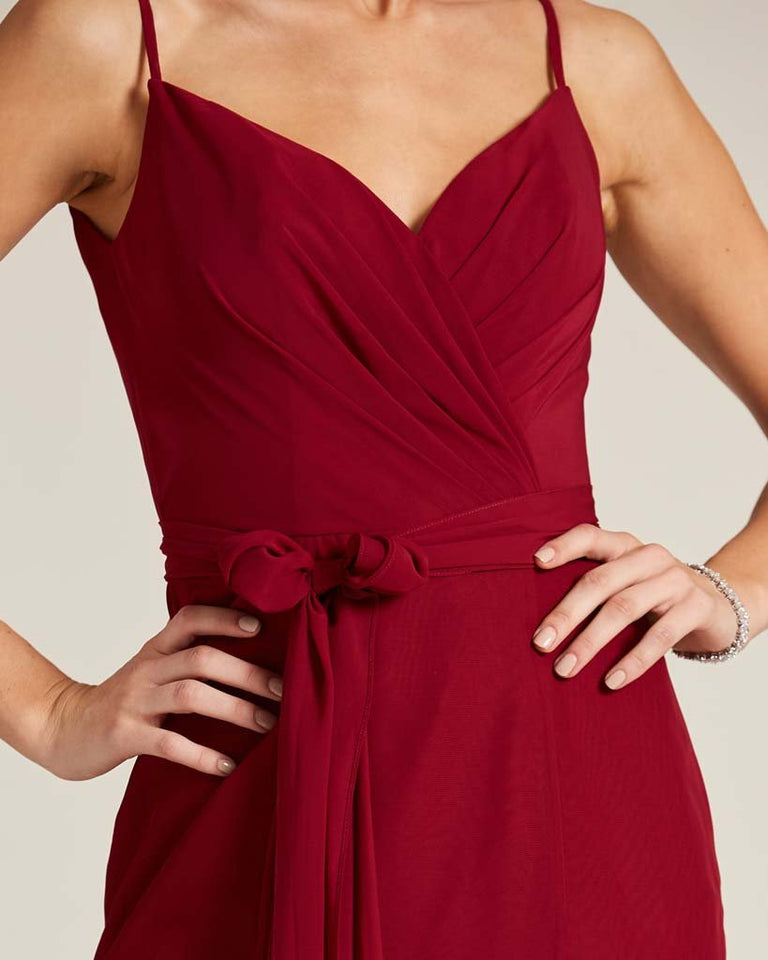 Paradise Sage Sleeveless Bow Detail Formal Dress