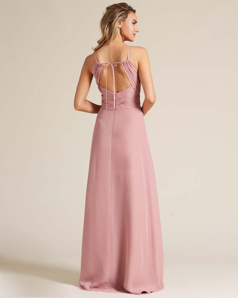 Paradise Sage Cut Out Back Long Dress