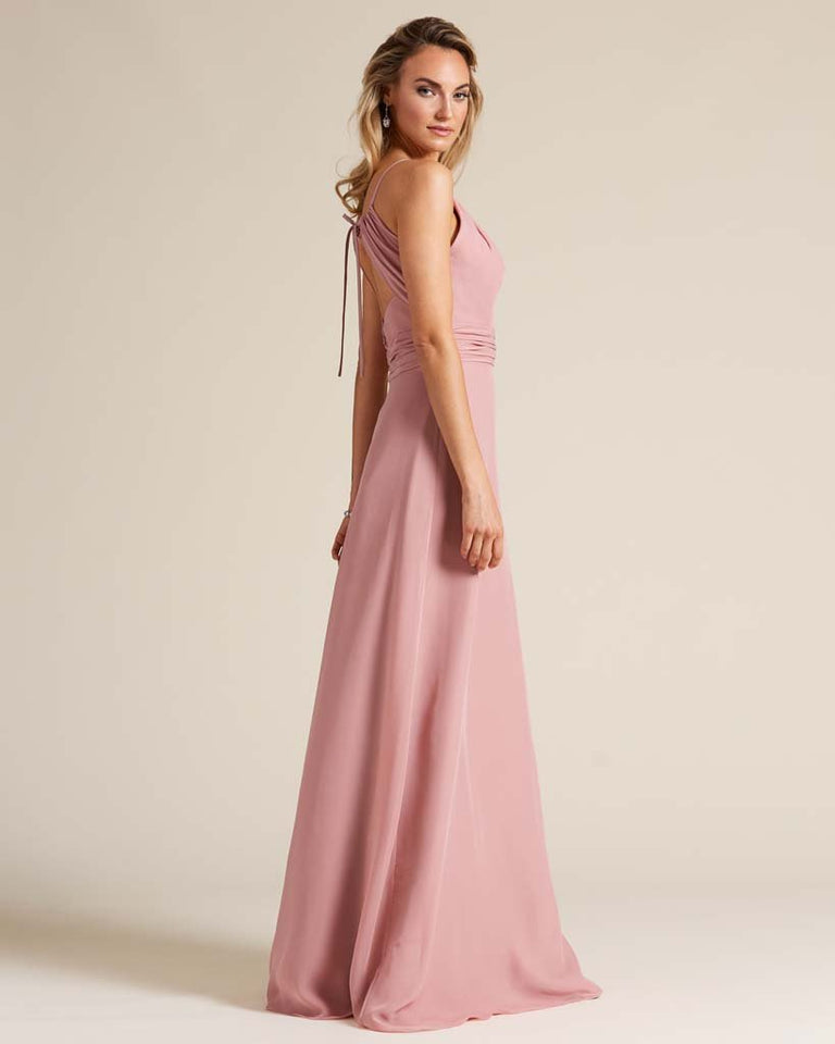 Blushing Pink Cut Out Back Long Dress