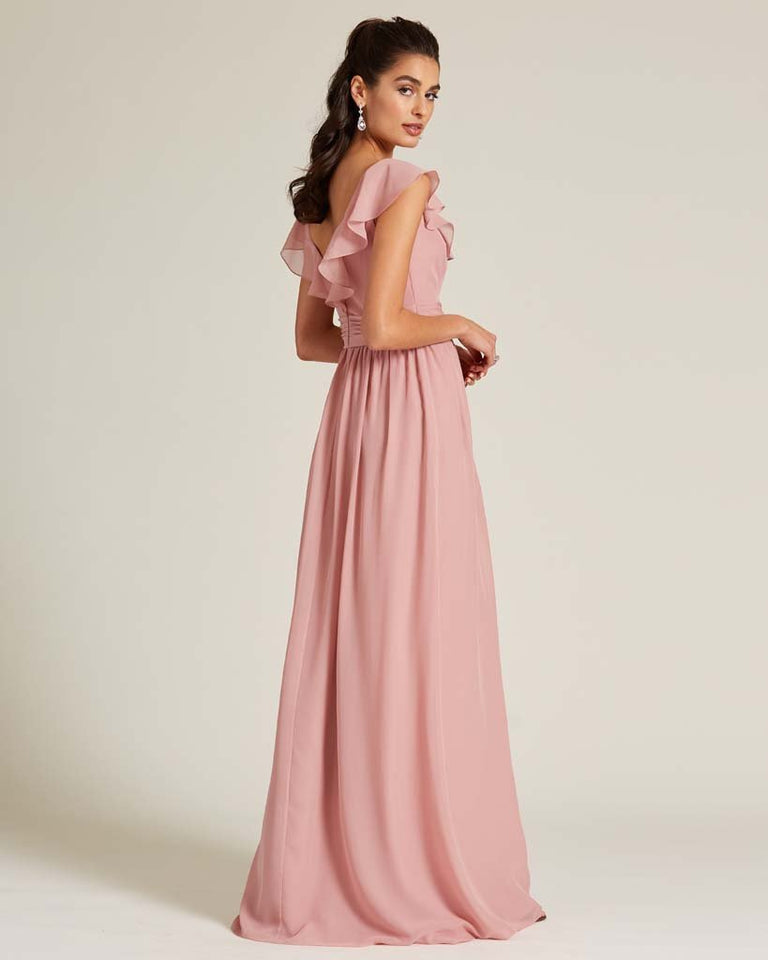 Paradise Sage Flutter Top Long Skirt Dress