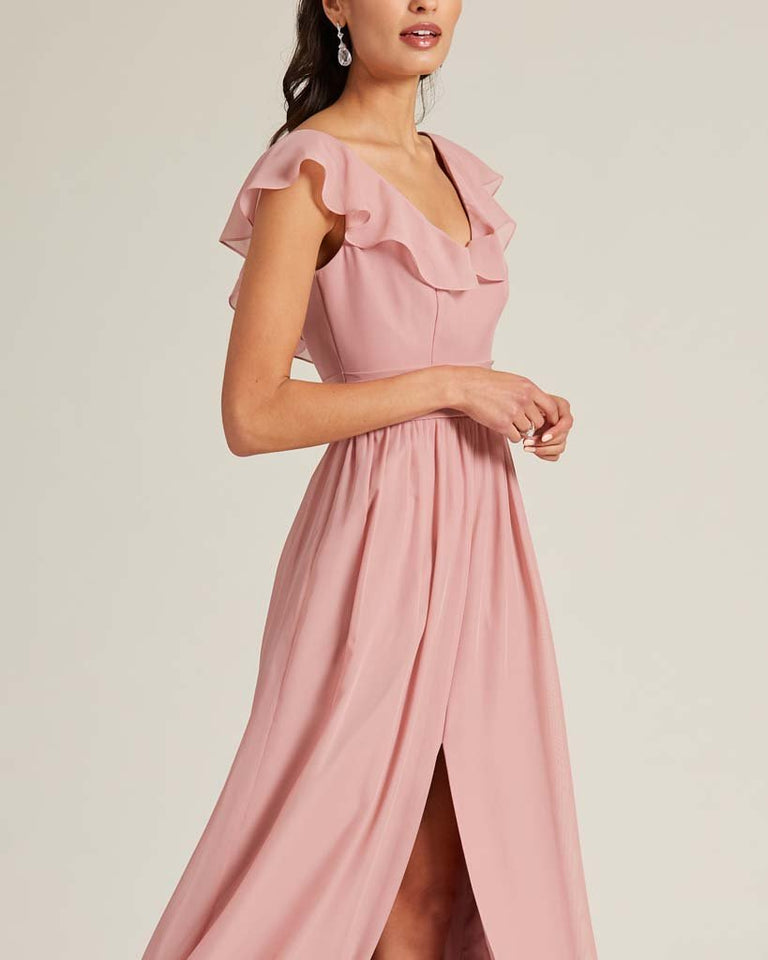 Flamingo Pink Flutter Top Long Skirt Dress