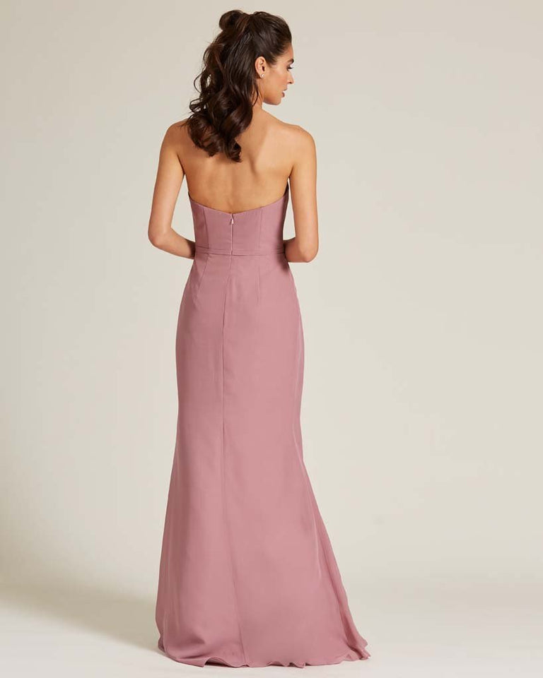 Vintage Mauve Strapless Sweetheart Neckline Formal Gown