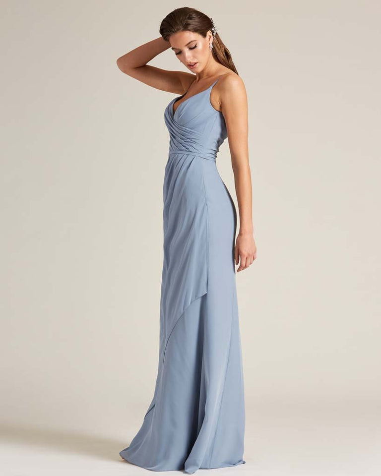Jade Sleeveless V Neck Style Long Dress