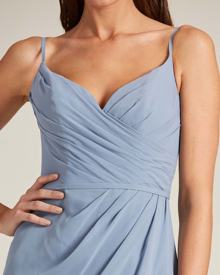 Silver Sleeveless V Neck Style Long Dress