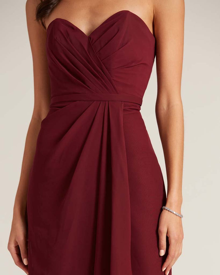 Paradise Sage Strapless Bow Detail Long Skirt Dress