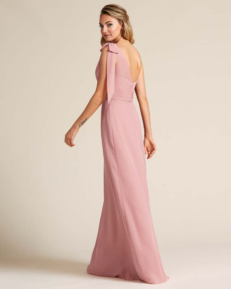 Paradise Sage One Shoulder Ruched Formal Gown