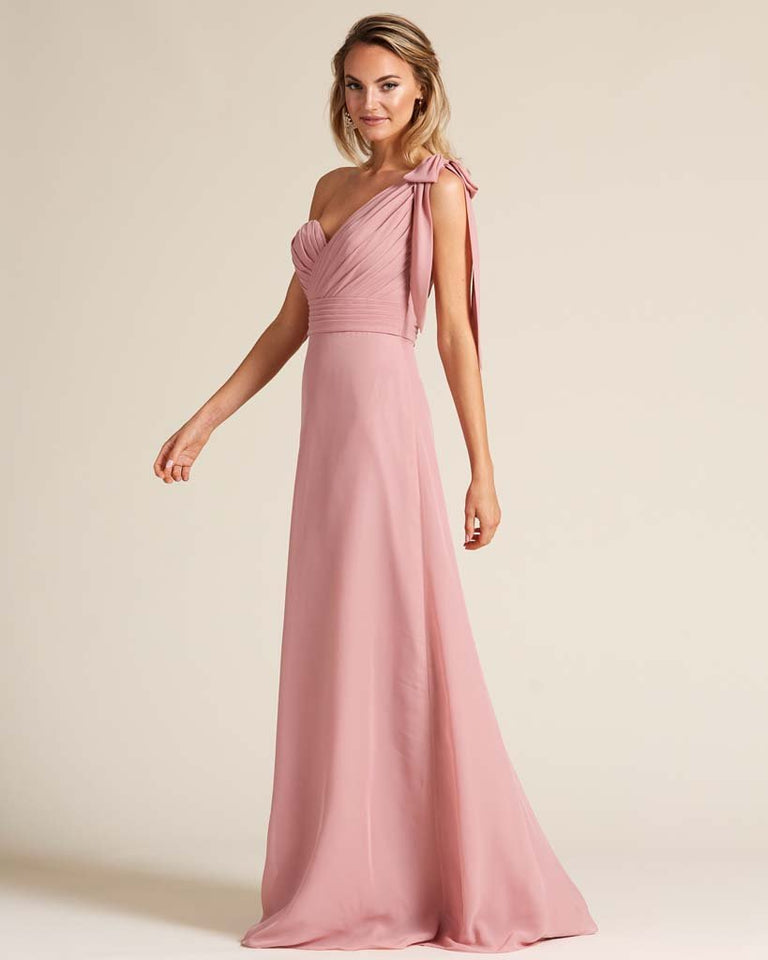 Vintage Mauve One Shoulder Ruched Formal Gown