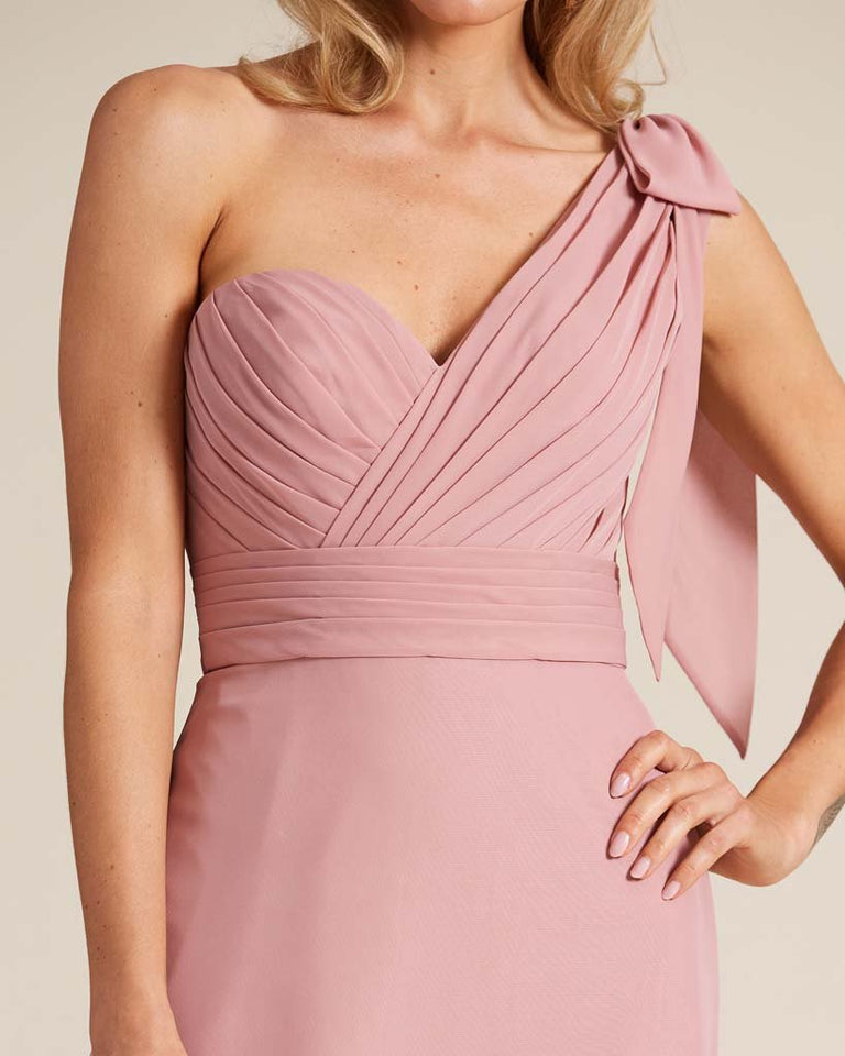 White One Shoulder Ruched Formal Gown