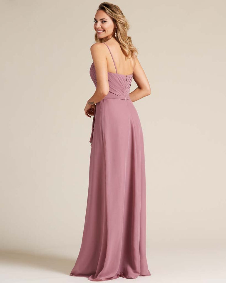Chocolate Sleeveless Ruched Style Evening Gown