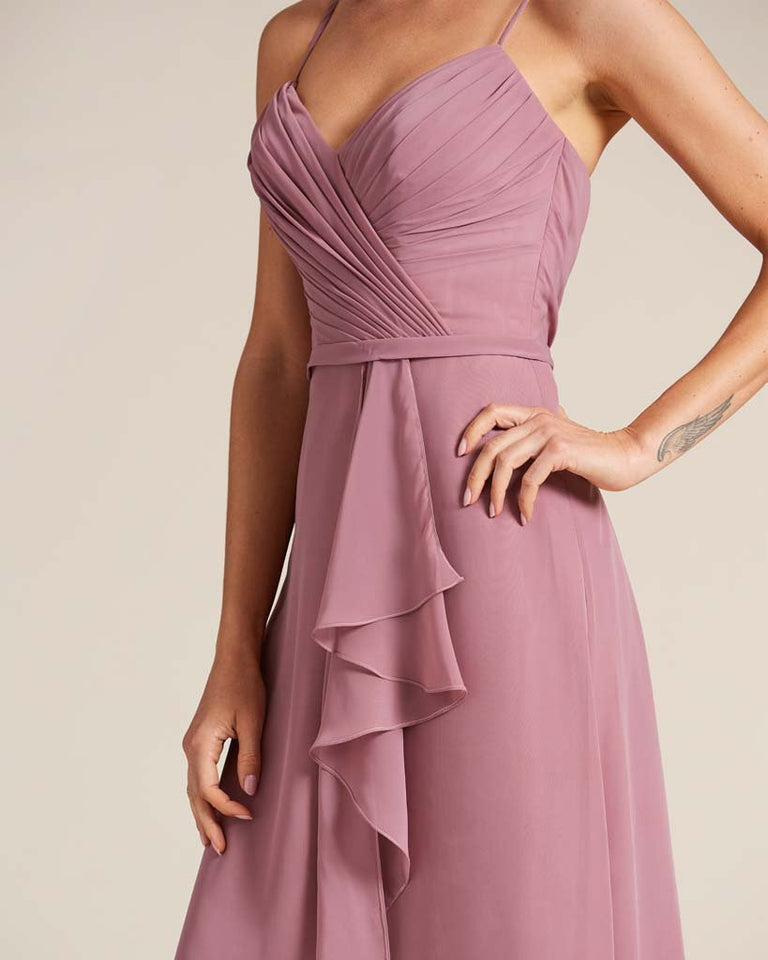 Dusty Blue Sleeveless Ruched Style Evening Gown
