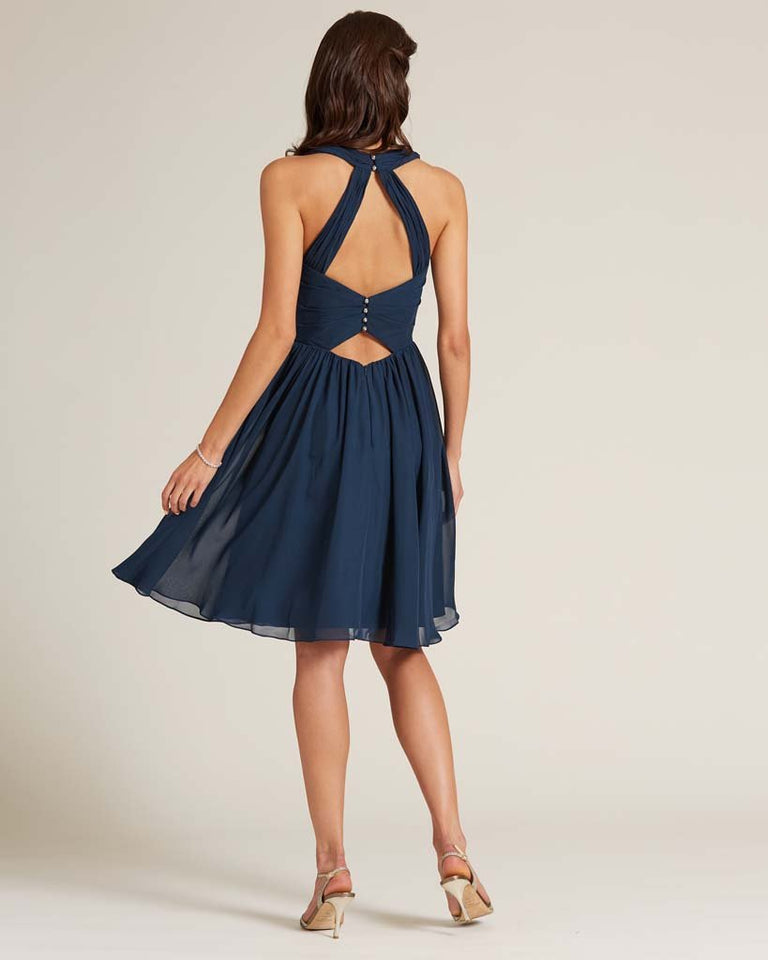 Royal Blue Halter Top Ruched Mini Dress