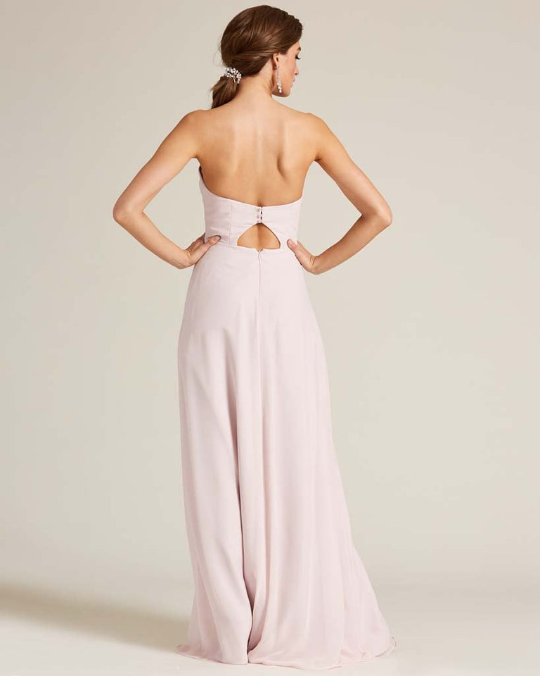 Ivory Strapless Cut Out Back Formal Gown