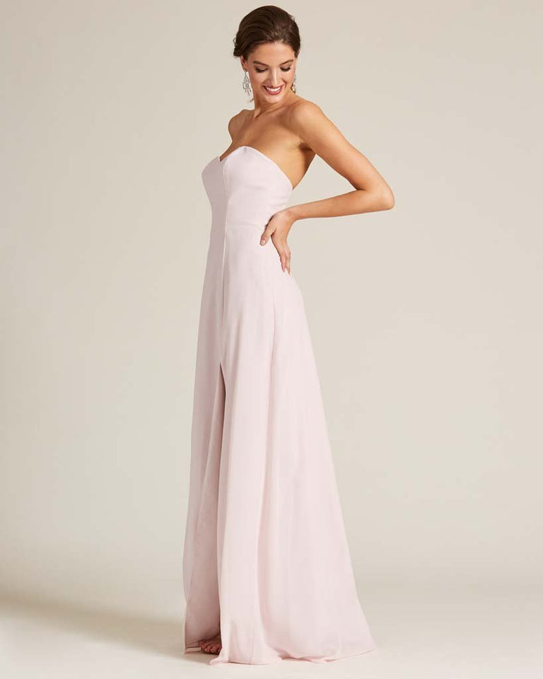 Blushing Pink Strapless Cut Out Back Formal Gown