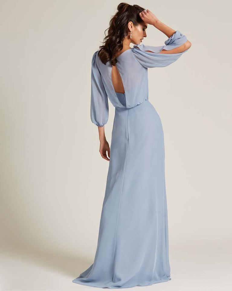 Mint Green Sheer Top Long Sleeve Formal Gown