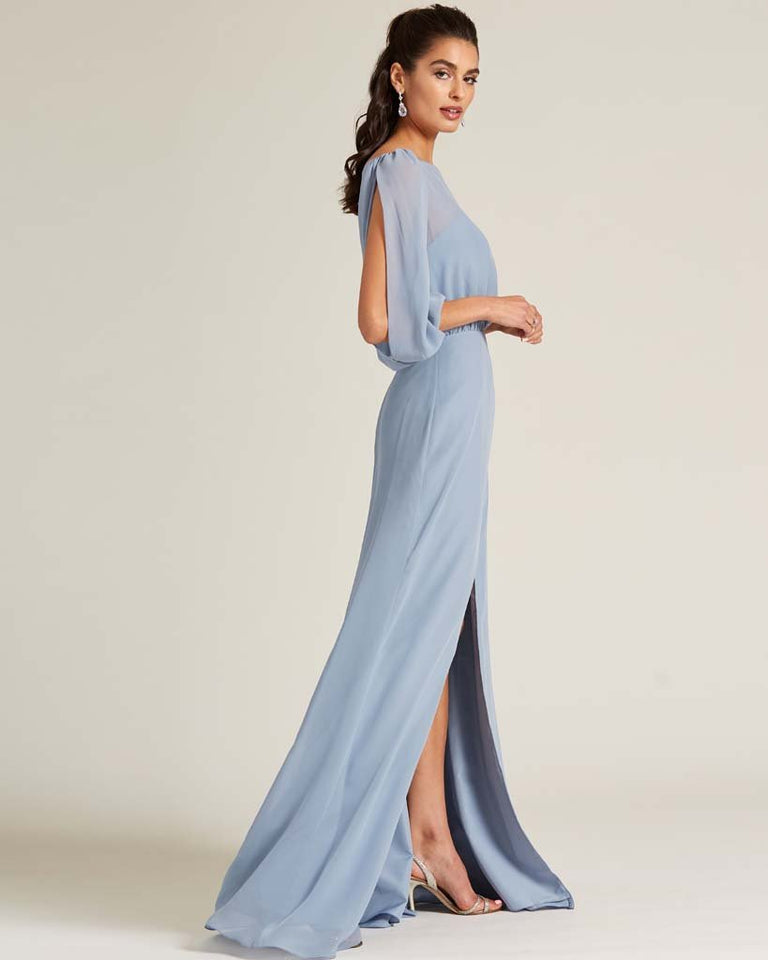 Dusty Blue Sheer Top Long Sleeve Formal Gown