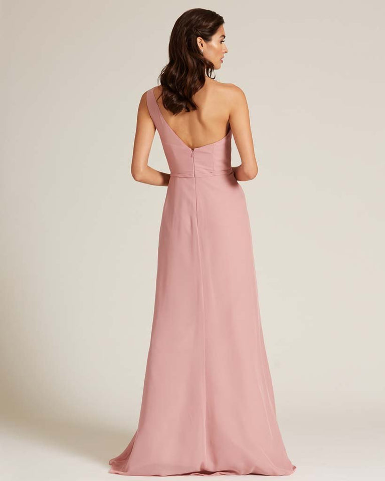 Celadon Shoulder Ruched Front Evening Dress
