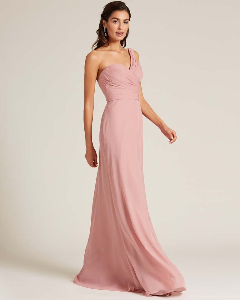 Flamingo Pink Shoulder Ruched Front Evening Dress
