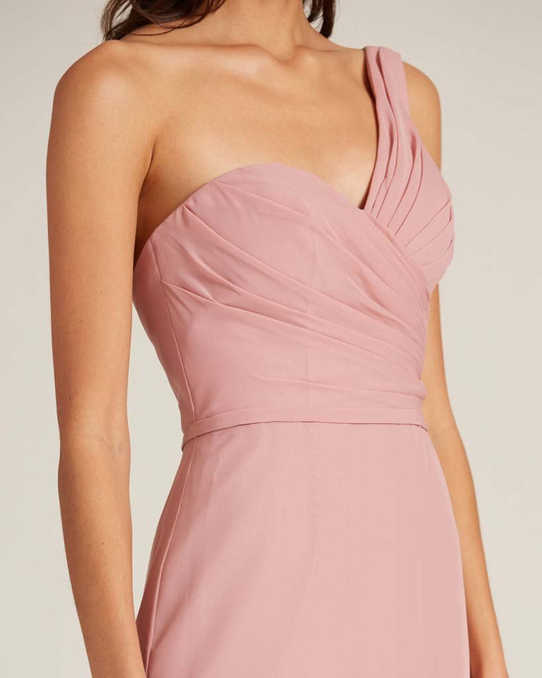 Moss Shoulder Ruched Front Evening Dress
