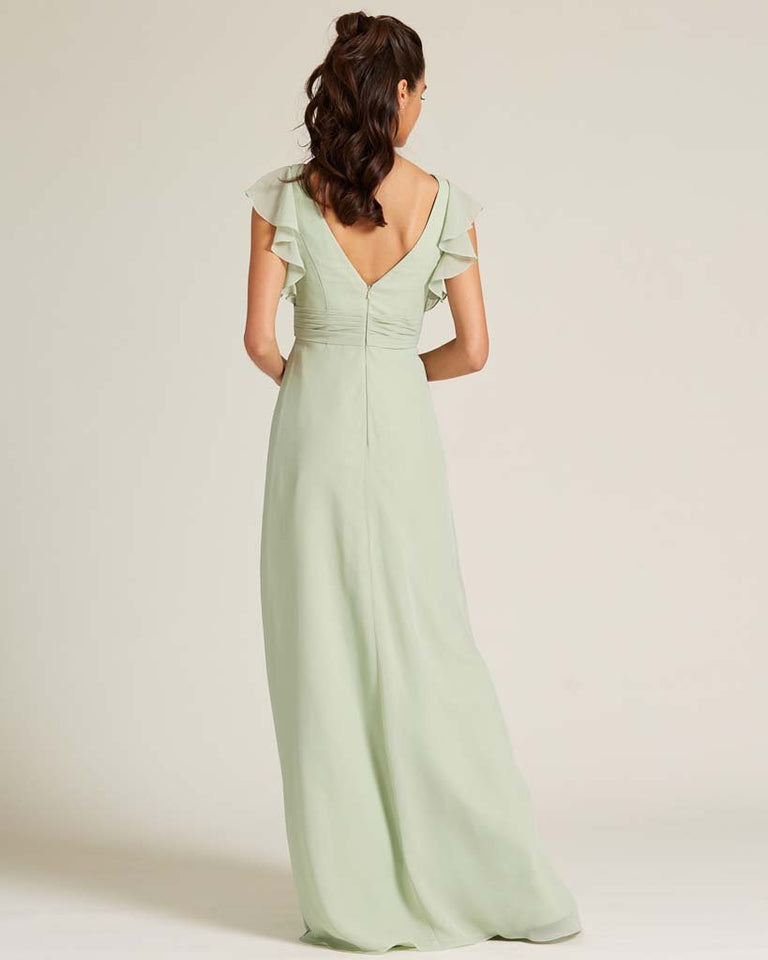 Celadon Ruffled Cap Sleeve Formal Gown