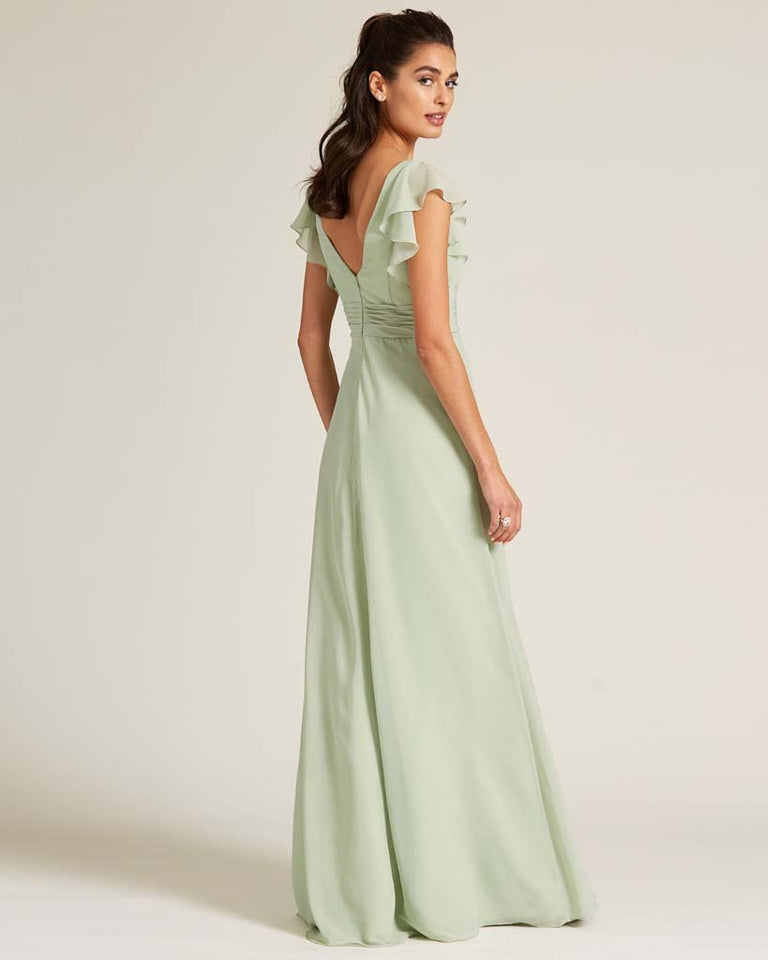 Dusty Blue Ruffled Cap Sleeve Formal Gown